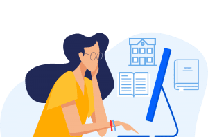 Colorful illustrated lady with glasses at a laptop