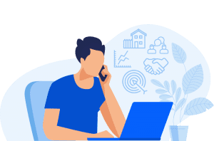 Colorful illustrated guy on a cell with a laptop open