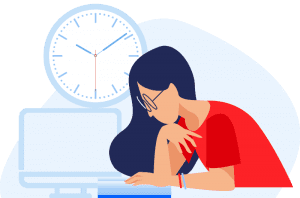Illustrated colorful lady with computer, and a clock