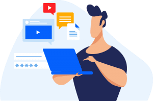 Colorful illustrated guy with laptop, and ideas floating around