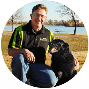 Lg photo of owner Dan with his dog